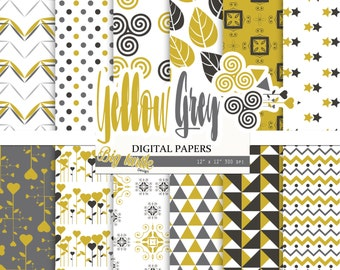 50% OFF SALE  Geometric digital paper,digital paper pack, yellow gray geometric patterns,yellow gray digital paper, Scrapbook Paper.