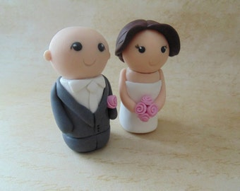 Bride and Groom Custom Cake Topper, Kokeshi wedding topper, personalised cake topper, Mini Bride and Groom, Themed wedding topper