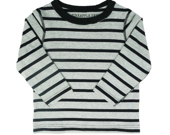 CHARLIE// Long sleeve striped bamboo shirt, kids seamless clothes, grey black stripes, clothing for SPD, 2t 3t 4t 5t XS S M L