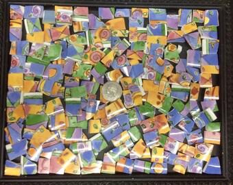 The sweet shoppe-hand-cut ceramic broken plate mosaic tiles- pink-yellow-purple-pique assiette------120 pieces-ID*50