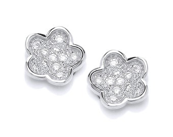Cubic Zirconia and Silver Flower Earrings