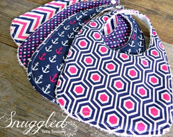 Baby Bib Set - Navy and Bright Pink