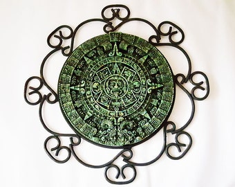 Aztec Calendar In Decorative Metal Frame
