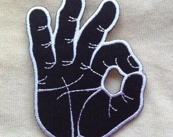 Ok Okay Hand Symbol Iron On Patch #Black