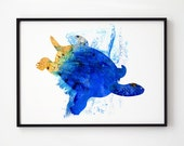 Turtle print Nautical art print Animal wall art Turtle art print EM144