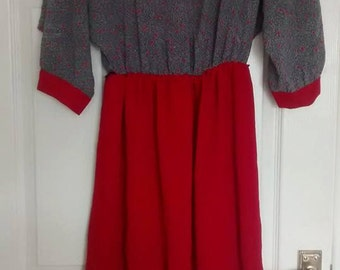 1980's red and grey dress