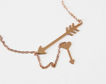 Cupid Arrows Necklace Rose Gold Simple Jewelry