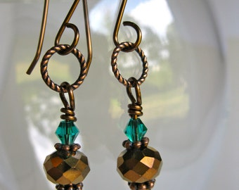 Crystal Earrings, Copper Crystal Earrings, Swarovski Crystal earrings, Dangle earrings, Teal Crystal Earrings
