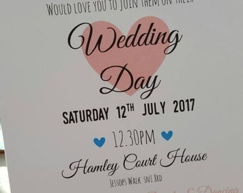 Personalised Pastel Wedding Invitations with Rsvp & money poem