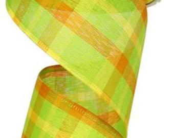"2.5""X100ft Plaid Lime/Orange/Yellow Wired Ribbon"