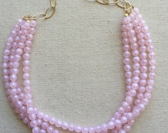Charming Pink Statement Necklace