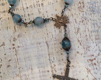 Fading forest green heirloom decade Rosary