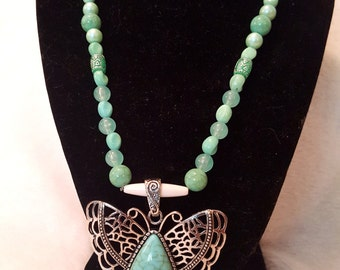 Turquoise and Silver Butterfly Necklace