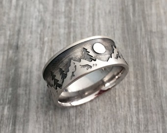 Mountain ring, men wedding ring, Sterling silver mountain ring, mountain biker, mountain lover jewelry, mountain lover wedding band