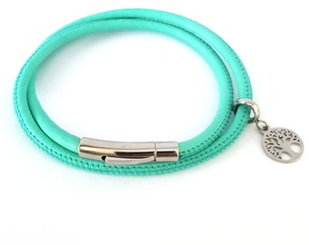 Leather Double Wrap in Mint