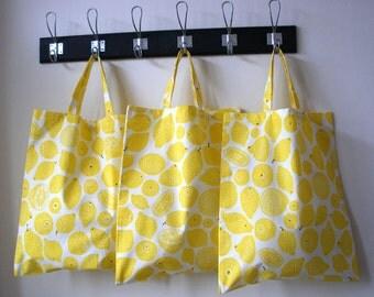 Tote Bag, Yellow Lemons on white, Shopper, Fabric Bag - Last One!