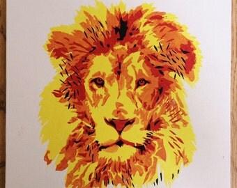 Lion Stencil Painting