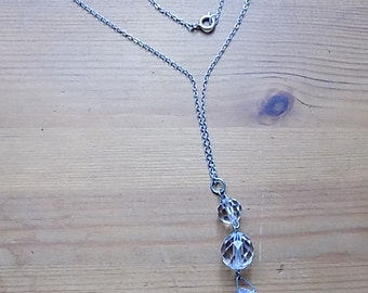 Lovely Glass Bead Necklace with Silver Chain. (marked silver)