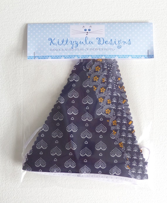 """African print fabric bunting, """"Shwe Shwe"""" fabric bunting, blue and yellow design."""