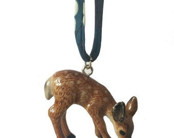 Ceramic deer necklace