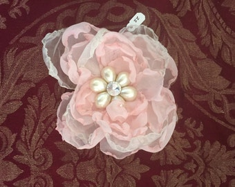 Pink and Off-White Fabric Flower Pin Hairpiece with Pearl and Jewel Centerpiece