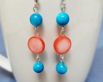 Aqua shell and coral shell earrings, aqua earrings, silver earrings, coral earrings, dangle earrings, shell earrings, blue, orange