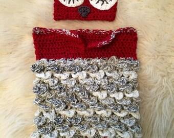 Knit owl newborn baby bunting bag. hand made