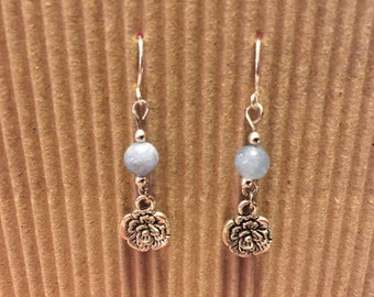 Blue Tone and Silver Tone Earrings