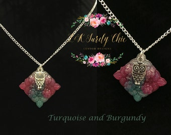 Owl Necklace-Abstract Necklace-Resin Necklace