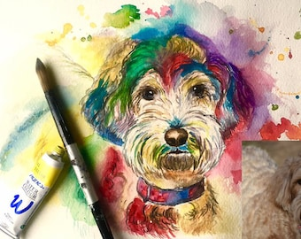 Custom Colorful Pet Portraits (petraits) in watercolor