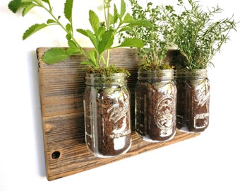 Rustic Herb Box - reclaimed wood herb planter box indoor herb planter barn indoor wall planter indoor hanging planter indoor planter box