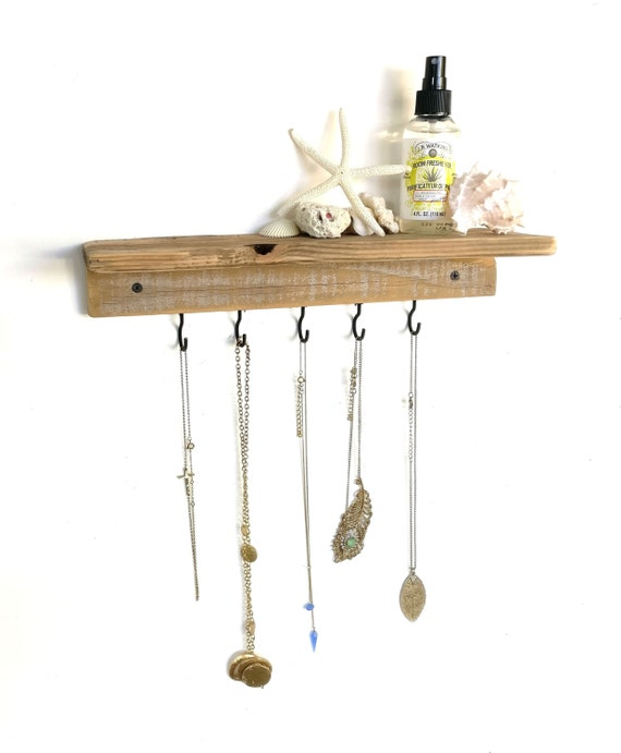 reclaimed wood floating shelf jewelry wall by romanreclamation. Black Bedroom Furniture Sets. Home Design Ideas