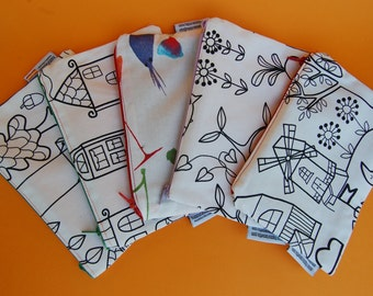 Fabric purse, zipper pouch with colorable design