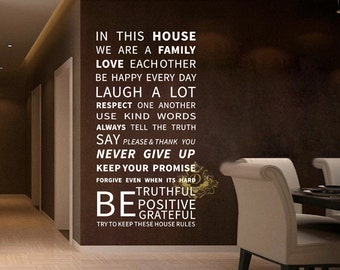 In This House House Rule Quote Wall Sticker Decal Vinyl Art Dinning Room XLarge