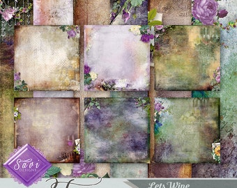 CU Commercial Use Background Papers set of 6 for Digital Scrapbooking or Craft projects LET'S WINE Art Papers, Designer Stock Papers