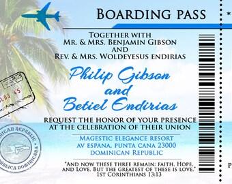 Boarding Pass Destination Wedding Invitations