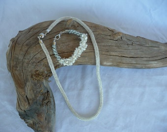 Silver Viking knit Necklace with Silver/White Kumihimo Bracelet