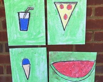 Food drawings in pastel (set of 4)