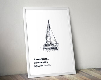 Sailboat with Sailor Quote Poster (Instant Download)