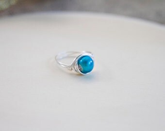 Teal Wire Wrapped Ring, Wire Wrapped Jewelry, Handmade, Bead Wire Wrapped Rings, Gift for Her