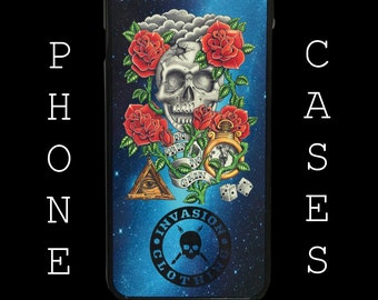 Skull and rose tattoo style phone case for iphone6 by Invasion Clothing