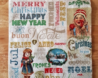 Set of 4 Vintage Christmas Inspired Paper Lunch Napkins Serviettes Dinner Tea Party Four Decoupage Collage Scrapbooking  #008