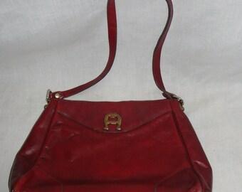 Etienne Aigner Oxblood Red Purse Leather Bag Vintage