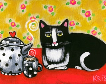 Tuxedo CAT with TEAPOT Folk Art Cat PRINT, cat folk art, tea time, cat wall decor, cat gift idea by Krista