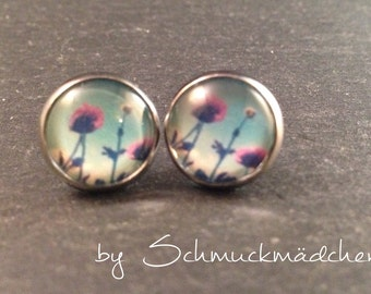 Earrings stainless steel poppies