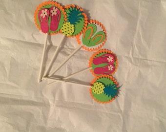Luau Party cupcake toppers, luau cupcake toppers, hula cupcake toppers,summer party cupcake toppers,pool part cupcake toppers