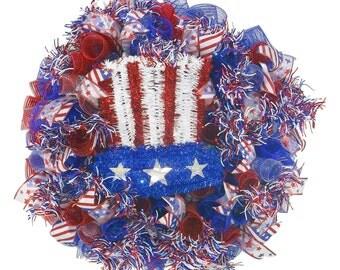 4th of July Patriotic Deco Mesh Wreath