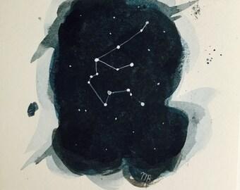 Original Water Color Aquarius Constellation Painting