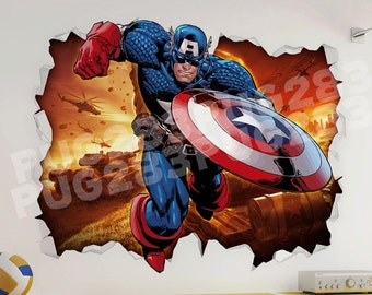 Captain America 3D Wall Vinyl Sticker - Marvel Mural Avengers Childrens Bedroom