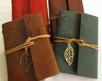 Leather diaries with engraved decoration, leaves, Leather notebook